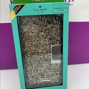 KATE SPADE Glitter iPhone 7/8 Plus FOLIO Case New!